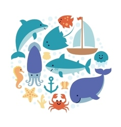 Set of sea animals in circle isolated on white vector image