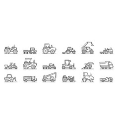 agricultural machines icons set outline style vector image