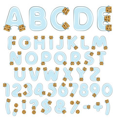 alphabet letters numbers and symbols from vials vector image