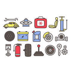 auto parts and car repair service tools isolated vector image
