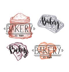 Bakery hand drawn vintage labels set vector