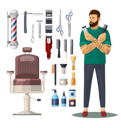 barbershop or hairdresser salon icons accessories vector image