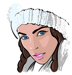 beautiful brunette girl with white knitted hat vector image