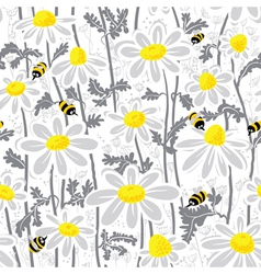 bees and chamomile vector image