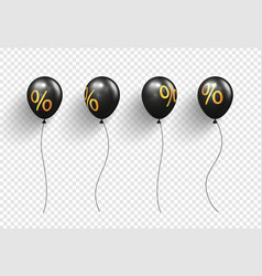black balloons with sign percent on transparent vector image