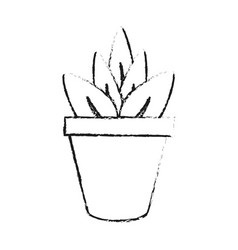 black blurred silhouette cartoon plant in pot vector image