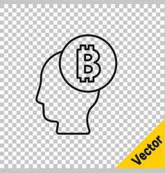 black line bitcoin think icon isolated on vector image
