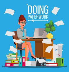 Business woman doing paperwork office vector