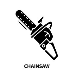 Chainsaw icon black sign with editable vector