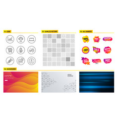 chart laptop and new icons shopping cart vector image