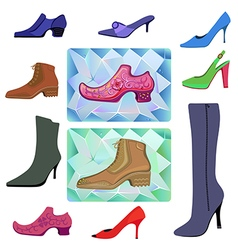Colored flat lay man women shoes set vector image