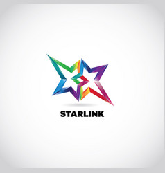 colorful rainbow star linked logo sign symbol icon vector image