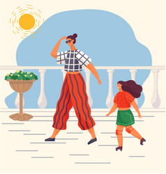 Couple mom and daughter walking in summer in hot vector