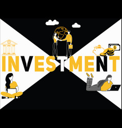 Creative word concept investment and people doing vector