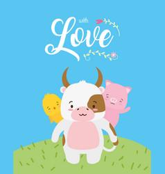 cute animals love card vector image