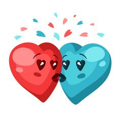 Cute couple hearts in love valentine day vector