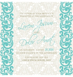 Damask wedding invitation blue vector