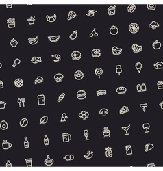 Dark Tilted Seamless Pattern with Light Food Icons vector image