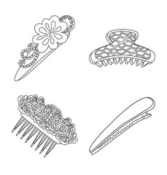 design of hairdressing and hairclip icon vector image
