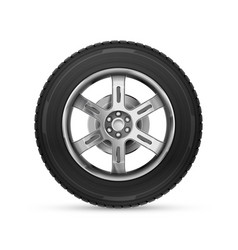 detailed realistic car wheel isolated on white vector image