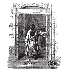 Doorway in the middle east vintage engraving vector
