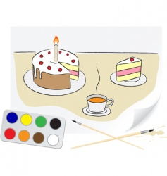 drawing cake vector image