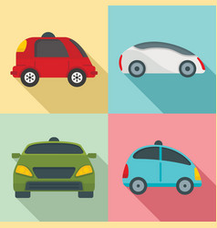 driverless icon set flat style vector image