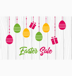 easter sale banner template with hanging eggs vector image