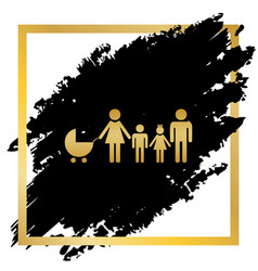 Family sign golden icon at vector