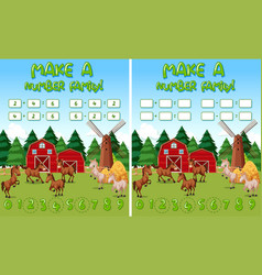 farm math game template with horses and farm vector image