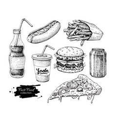 fast food hand drawn set engraved style vector image