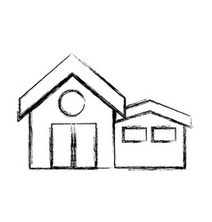 figure clean house with roof and door design vector image