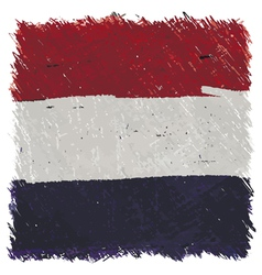Flag of Netherlands handmade square shape vector image
