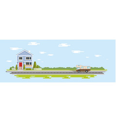 flat house cartoon trees village and vector image