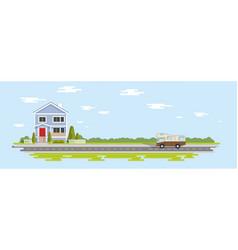 flat house cartoon trees village vector image