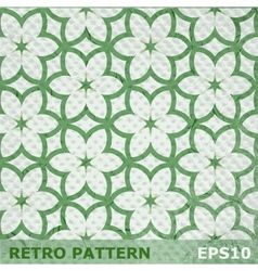 Green flowers seamless pattern on retro background vector image