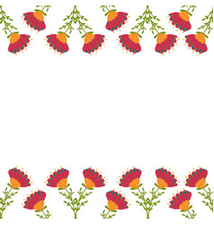 Greeting card with seamless floral border perfect vector