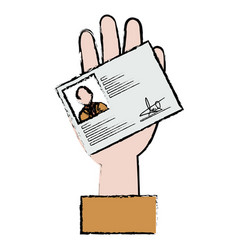 hand with id licence vector image