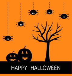 Happy halloween card black tree silhouette vector