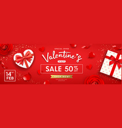 happy valentines day banners gift box heart shape vector image