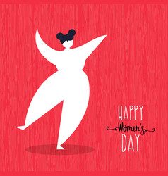 Happy womens day card with dancing woman art vector