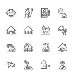 House property insurance of thin line icons for vector