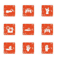 Indoor icons set grunge style vector
