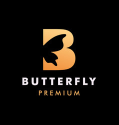 Initial letter b butterfly logo icon vector