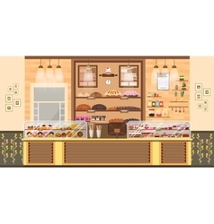 Interior bake shop bake sale business of vector