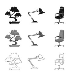 Isolated object of furniture and work icon set of vector