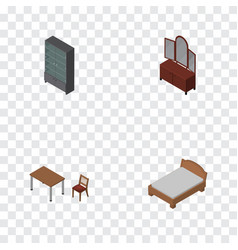Isometric design set of sideboard chair drawer vector
