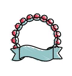 label emblem ribbon style floral vector image
