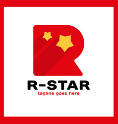 letter r two star logo vector image