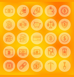 line bitcoin web icons vector image